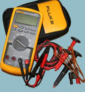 Yellow Fluke brand multimeter