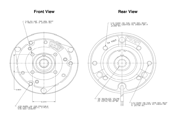 Pitts H28D300HT Clutch dimensions